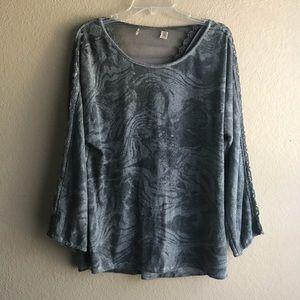 Tops - Woman's Gray Mesh Ty-Dye Print Top Sz M